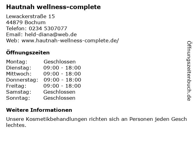 Hautnah Wellness complete in Bochum: Adresse und Öffnungszeiten