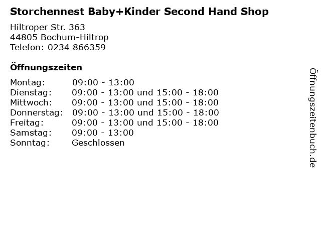 Storchennest Baby+Kinder Second Hand Shop in Bochum-Hiltrop: Adresse und Öffnungszeiten