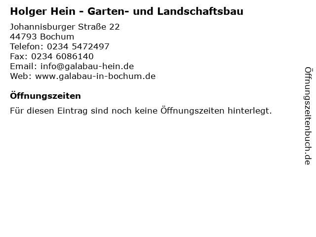Holger Hein - Garten- und Landschaftsbau in Bochum: Adresse und Öffnungszeiten