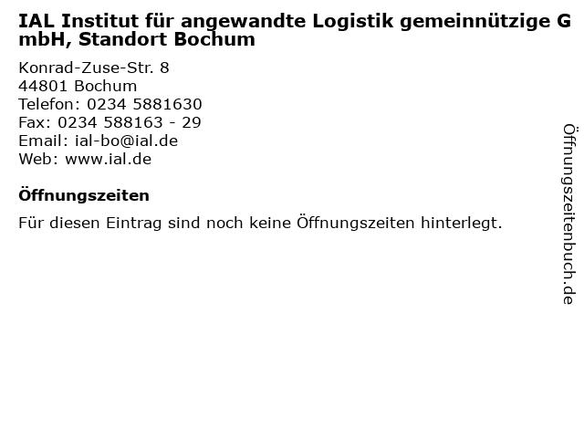 IAL Institut für angewandte Logistik gemeinnützige GmbH, Standort Bochum in Bochum: Adresse und Öffnungszeiten
