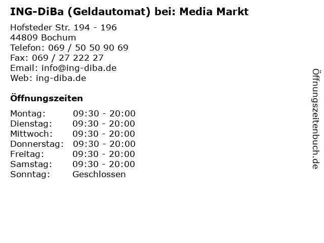 ING-DiBa (Geldautomat) bei: Media Markt in Bochum: Adresse und Öffnungszeiten