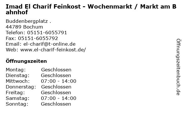 Imad El Charif Feinkost - Wochenmarkt / Markt am Bahnhof in Bochum: Adresse und Öffnungszeiten