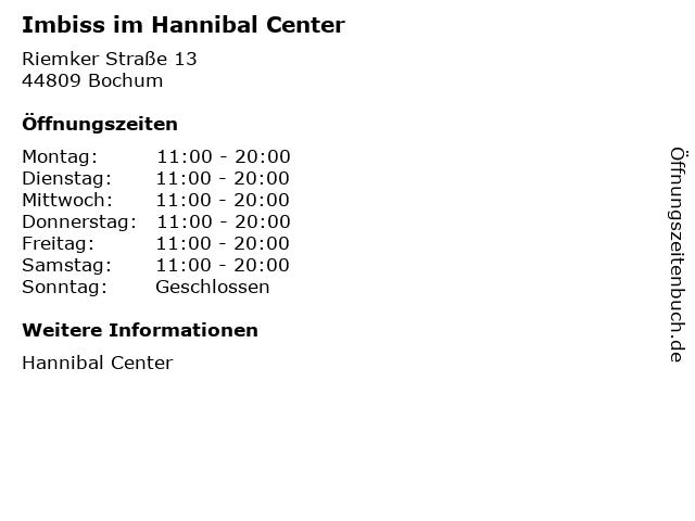 Imbiss im Hannibal Center in Bochum: Adresse und Öffnungszeiten