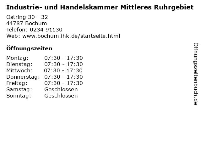Industrie- und Handelskammer Mittleres Ruhrgebiet in Bochum: Adresse und Öffnungszeiten