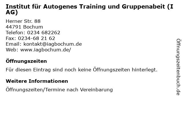 Institut für Autogenes Training und Gruppenabeit (IAG) in Bochum: Adresse und Öffnungszeiten