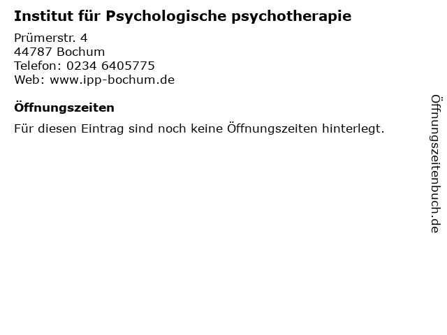 Institut für Psychologische psychotherapie in Bochum: Adresse und Öffnungszeiten