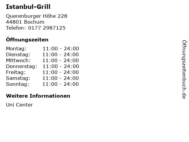 Istanbul-Grill in Bochum: Adresse und Öffnungszeiten
