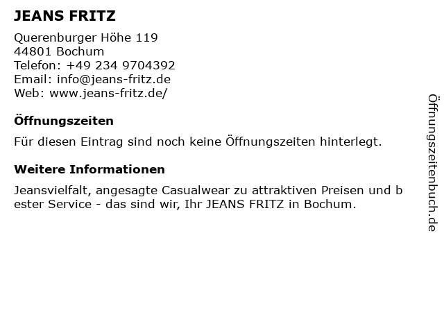 Jeans Fritz Handelsgesellschaft für Mode mbH in Bochum: Adresse und Öffnungszeiten