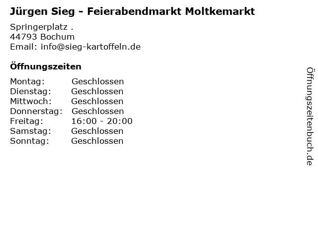 Jürgen Sieg - Feierabendmarkt Moltkemarkt in Bochum: Adresse und Öffnungszeiten