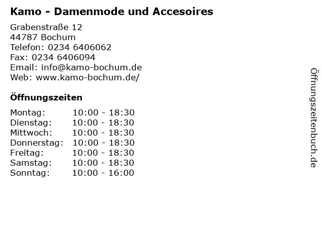 Kamo - Damenmode und Accesoires in Bochum: Adresse und Öffnungszeiten