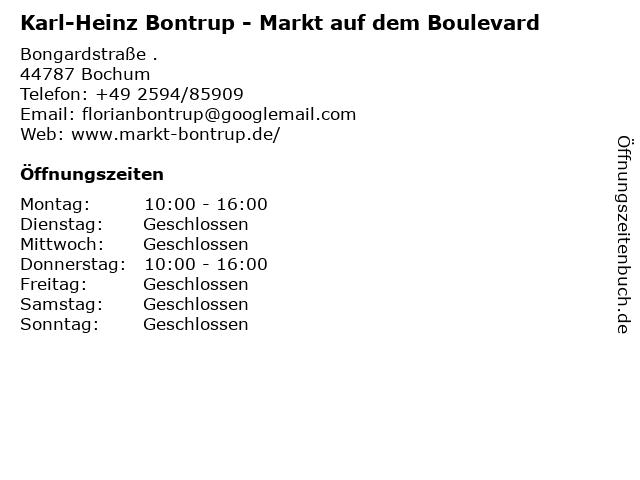 Karl-Heinz Bontrup - Markt auf dem Boulevard in Bochum: Adresse und Öffnungszeiten