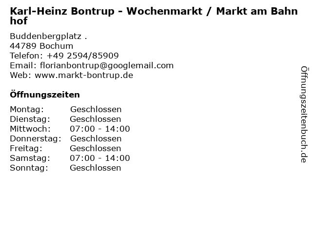 Karl-Heinz Bontrup - Wochenmarkt / Markt am Bahnhof in Bochum: Adresse und Öffnungszeiten