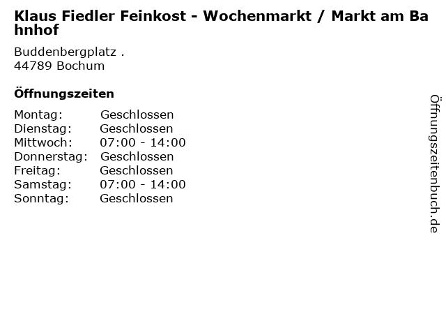 Klaus Fiedler Feinkost - Wochenmarkt / Markt am Bahnhof in Bochum: Adresse und Öffnungszeiten
