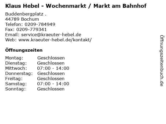 Klaus Hebel - Wochenmarkt / Markt am Bahnhof in Bochum: Adresse und Öffnungszeiten