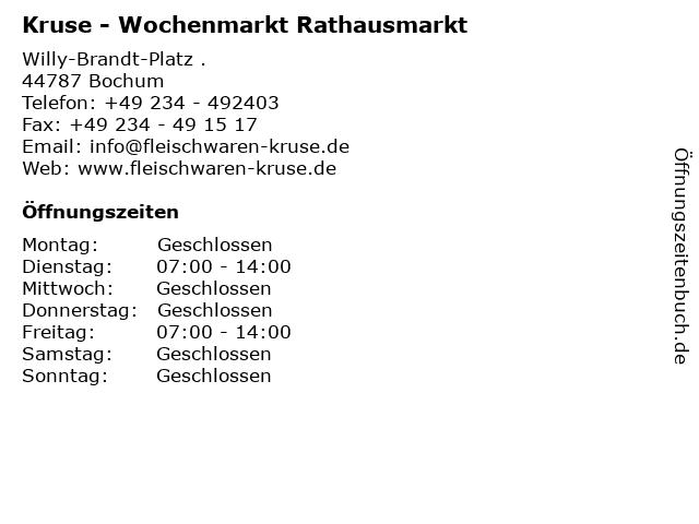 Kruse - Wochenmarkt Rathausmarkt in Bochum: Adresse und Öffnungszeiten