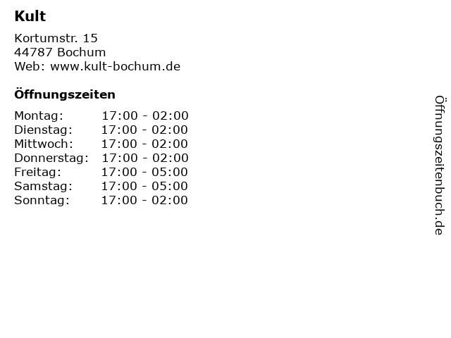 Kult in Bochum: Adresse und Öffnungszeiten