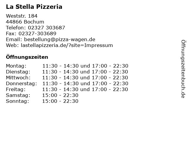 La Stella Pizzeria in Bochum: Adresse und Öffnungszeiten