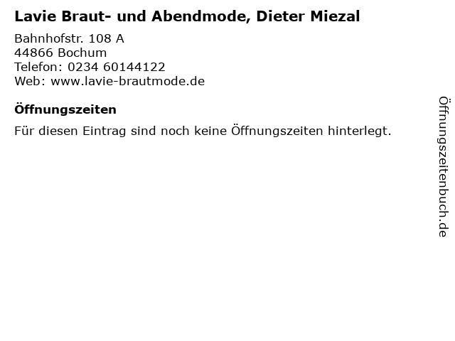 ᐅ Offnungszeiten Lavie Braut Und Abendmode Dieter Miezal Bahnhofstr 108 A In Bochum