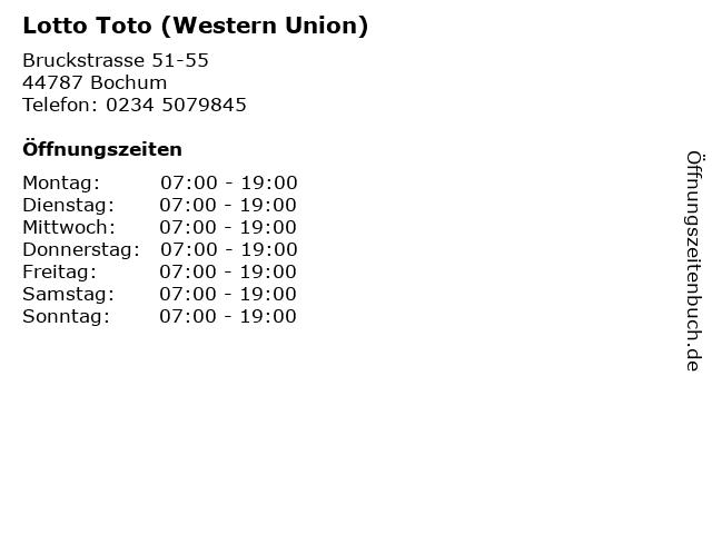 Lotto Toto (Western Union) in Bochum: Adresse und Öffnungszeiten