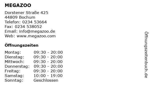 MEGAZOO in Bochum: Adresse und Öffnungszeiten