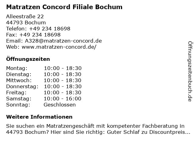 Matratzen Concord in Bochum: Adresse und Öffnungszeiten