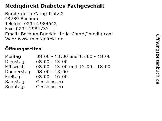 Mediqdirekt Diabetes Fachgeschäft in Bochum: Adresse und Öffnungszeiten