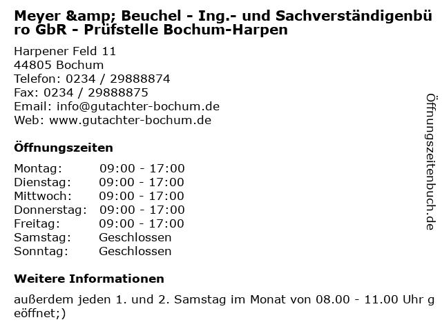 Meyer & Beuchel - Ing.- und Sachverständigenbüro GbR - Prüfstelle Bochum-Harpen in Bochum: Adresse und Öffnungszeiten