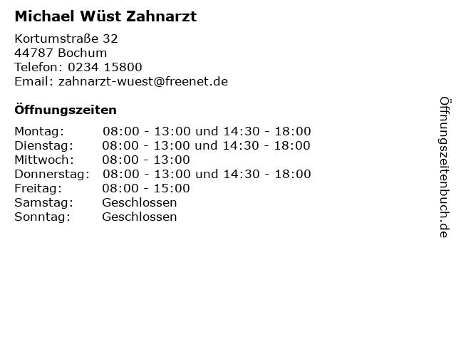 Michael Wüst Zahnarzt in Bochum: Adresse und Öffnungszeiten