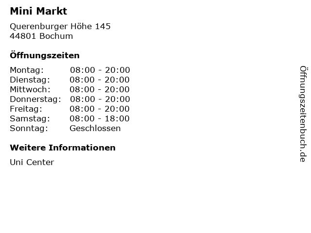 Mini Markt in Bochum: Adresse und Öffnungszeiten
