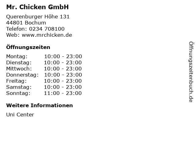 Mr. Chicken GmbH in Bochum: Adresse und Öffnungszeiten