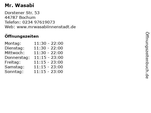 Mr. Wasabi in Bochum: Adresse und Öffnungszeiten