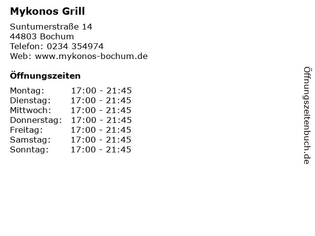 Mykonos Grill in Bochum: Adresse und Öffnungszeiten