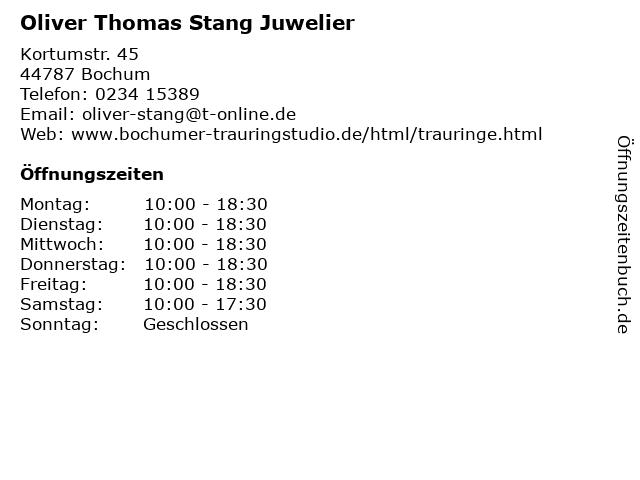 Oliver Thomas Stang Juwelier in Bochum: Adresse und Öffnungszeiten