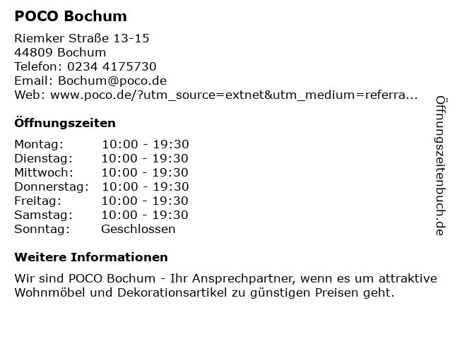 POCO Domäne Einrichtungsmärkte in Bochum: Adresse und Öffnungszeiten
