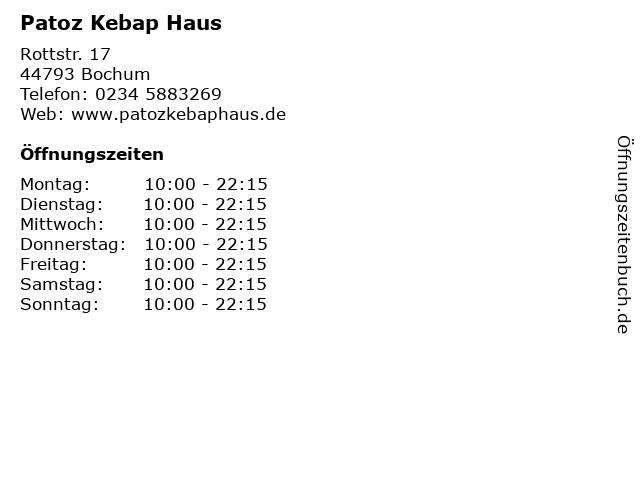 Patoz Kebap Haus in Bochum: Adresse und Öffnungszeiten