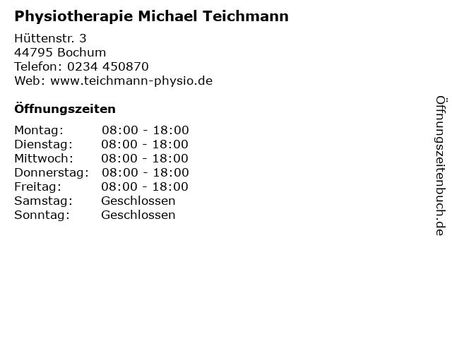 Physiotherapie Michael Teichmann in Bochum: Adresse und Öffnungszeiten
