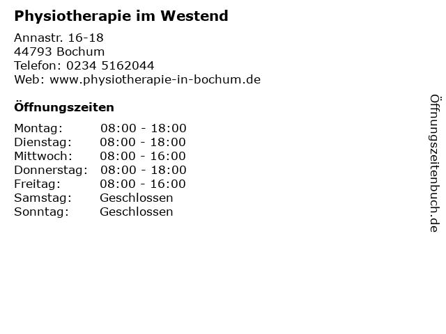 Physiotherapie im Westend in Bochum: Adresse und Öffnungszeiten