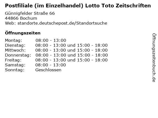 Postfiliale (im Einzelhandel) Lotto Toto Zeitschriften in Bochum: Adresse und Öffnungszeiten
