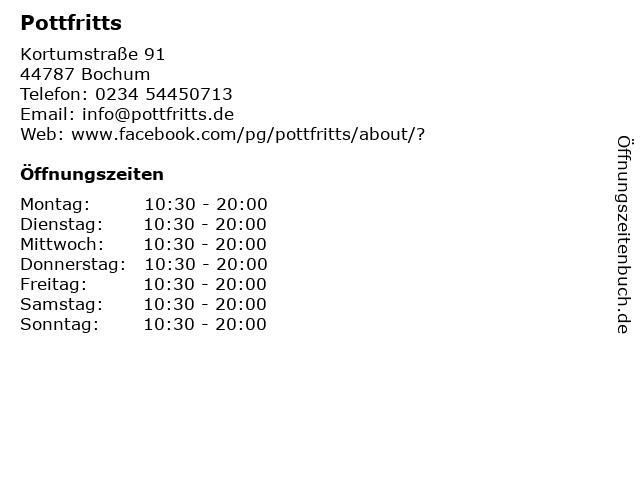 Pottfritts in Bochum: Adresse und Öffnungszeiten