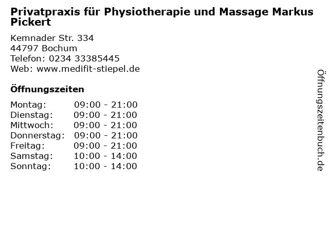 Privatpraxis für Physiotherapie und Massage Markus Pickert in Bochum: Adresse und Öffnungszeiten