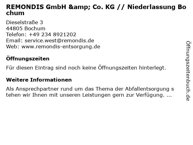 REMONDIS GmbH & Co. KG - Niederlassung in Bochum: Adresse und Öffnungszeiten