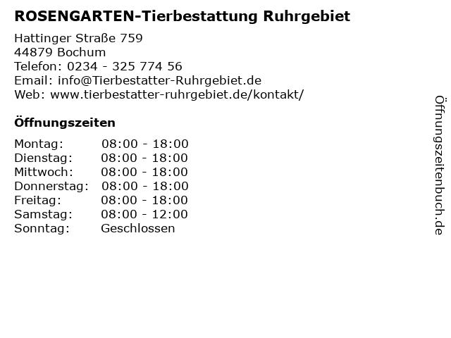 ROSENGARTEN-Tierbestattung Ruhrgebiet in Bochum: Adresse und Öffnungszeiten