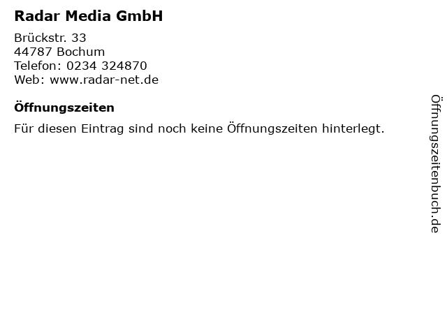 Radar Media GmbH in Bochum: Adresse und Öffnungszeiten