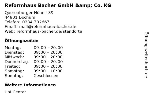 Reformhaus Bacher GmbH & Co. KG in Bochum: Adresse und Öffnungszeiten