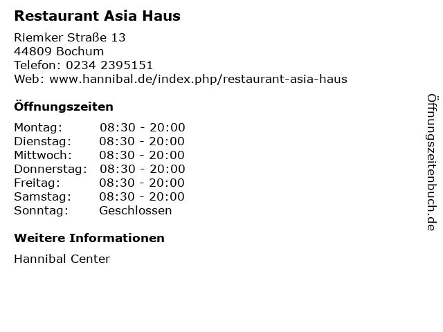 Restaurant Asia Haus in Bochum: Adresse und Öffnungszeiten