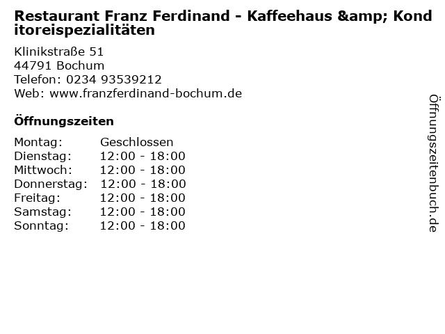 . ffnungszeiten  Restaurant Franz Ferdinand   Kaffeehaus