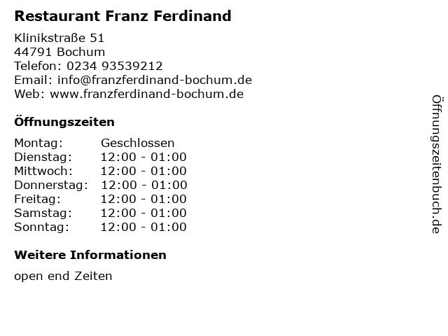 . ffnungszeiten  Restaurant Franz Ferdinand    Klinikstra e 51 in