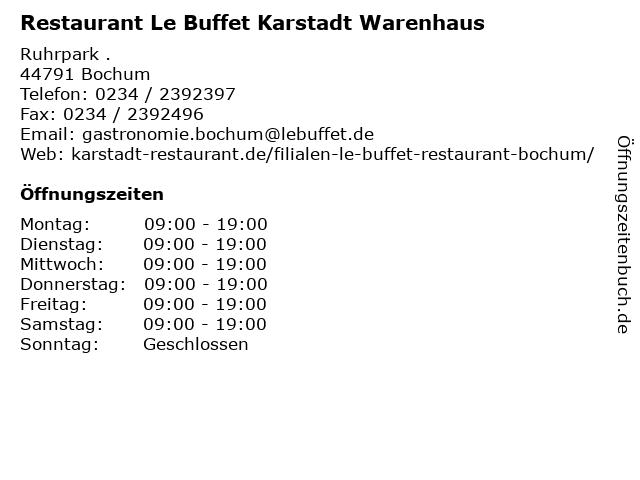 """68413e70b5 ᐅ Öffnungszeiten """"Restaurant Le Buffet Karstadt Warenhaus ..."""