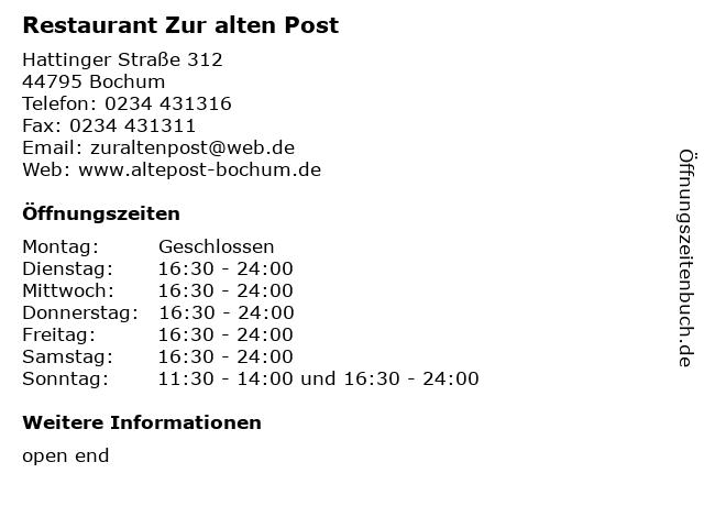 Restaurant Zur alten Post in Bochum: Adresse und Öffnungszeiten