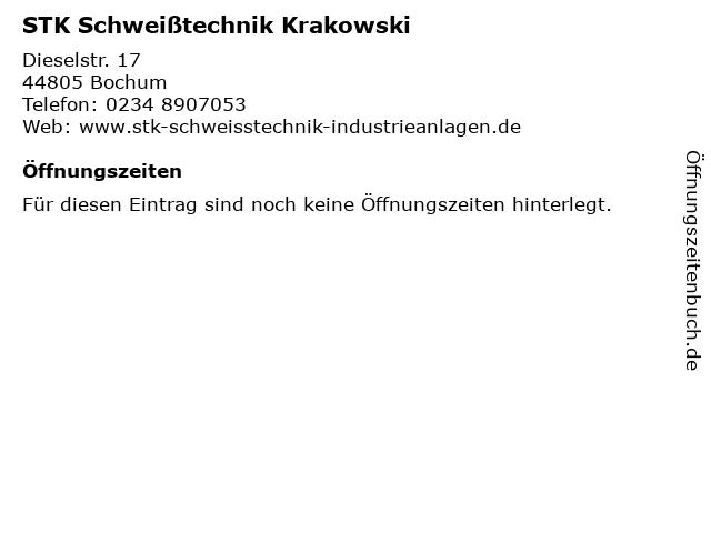 STK Schweißtechnik Krakowski in Bochum: Adresse und Öffnungszeiten